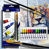 Acrylic Paints Set, 12 Colors, 2 Brushes