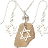 Star Of David Necklace & Earrings Set, Sterling Silver, 18 Inch Chain, 1-1.5 Inch Stone Size