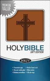 NKJV Gift Bible, imitation leather, Brown with Cross  - Slightly Imperfect