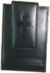 Leather Money Clip with Cross, Black