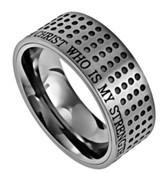 Christ My Strength Sport Men's Ring Silver, Size 10 (Philippians 4:13)