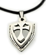 Psalms 28:7 18 Stainless Steel Cross And Shield Necklace