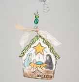 Believe Nativity Flat Stable Ornament