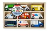 Wooden Town Vehicles Set, 9 pieces