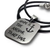 Hope Is The Anchor, Stainless Steel Necklace On Leather