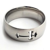 Open Cross, Stainless Steel Ring, Size 8