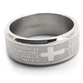 I Can Do All Things, Philippians 4:13 Stainless Steel Ring, Size 11