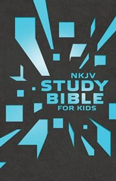 NKJV Study Bible for Kids--soft leather-look, grey/blue