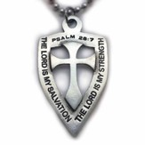 Cross and Shield, Psalm 26:7, Pendant on 30 Ball Chain