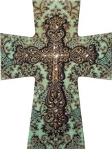 Layered Wall Cross, Turquoise and Brown