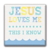 Jesus Loves Me, Blue Canvas Print, 12 x 12