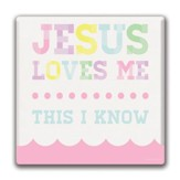 Jesus Loves Me, Pink Canvas Print, 12 x 12