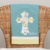 Believe with Floral Cross Tea Towel