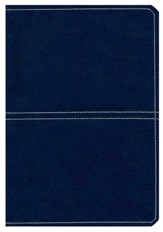 KJV Giant-Print Center-Column Reference Bible--soft leather-look, sea blue