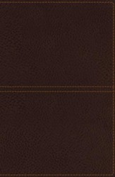 KJV Giant-Print Center-Column Reference Bible--soft leather-look, earth brown
