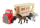 Wooden Horse Trailer Set