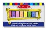 Jumbo Triangular Chalk Sticks, 10 pieces
