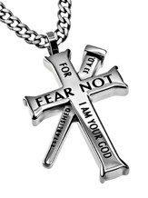 Fear Not Established Cross Necklace, Silver
