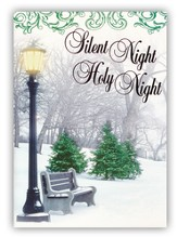 Silent Night/Holy Night, Snowy Bench Foil Christmas Cards, Box of 12