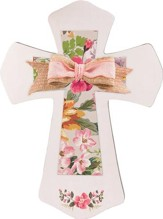 Cream and Floral Layered Wall Cross with Bow