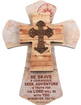 Be Brave & Courageous, Joshua 1:9, Layered Wall Cross, Maps and Metal Cross