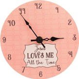 Jesus Loves Me All the Time Baby Girl Wall Clock