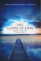 NIV Gospel of John, Large-Print Reader's Edition--softcover, blue pier