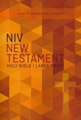NIV Large-Print Outreach New Testament--softcover, orange cross - Slightly Imperfect