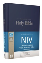NIV Large-Print Single-Column Pew and Worship Bible--hardcover, blue