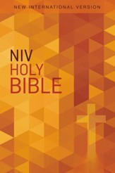 NIV Value Outreach Bible Orange Geometric, Paperback, Case of 24