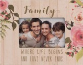 Family, Where Life Begins and Love Never Ends Photo Frame