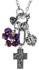 Cross ASK Cluster Necklace, Rainbow