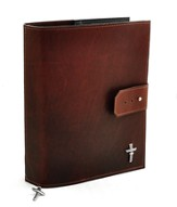 Leather Adjustable Bible Cover, Burgundy, Extra Large
