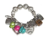 Stone and Heart Bracelet, Antique Silver and Multi Color