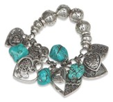 Stone and Heart Bracelet, Antique Silver and Turquoise