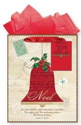 Noel Red Bell, Gift Bag with Tissue, Isaiah 9:6, Medium