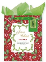 Holly & Ribbon, Gift Bag with Tissue, James 1:17, Large