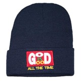God Is Good All the Time Beanie, Navy Blue