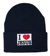 I Love Jesus Beanie, Navy Blue