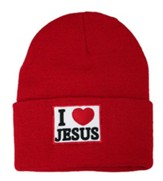 I Love Jesus Beanie, Red