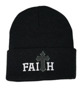 Faith, Faux Leather Cross, Beanie, Black