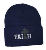 Faith, Faux Leather Cross, Beanie, Navy Blue