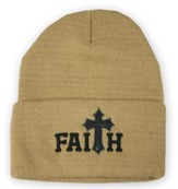 Faith, Faux Leather Cross, Beanie, Khaki