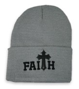 Faith, Faux Leather Cross, Beanie, Grey