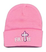 Faith, Faux Leather Cross, Beanie, Pink