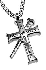 No Weapon Established Cross Necklace, Silver