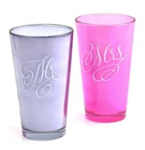 Mr. and Mrs., Inspirational Glasses, Set of 2