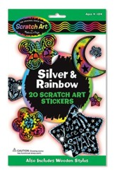 Silver and Rainbow Scratch Art Stickers