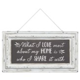 What I Love Most About My Home is Who I Share It With Pressed Tin Sign