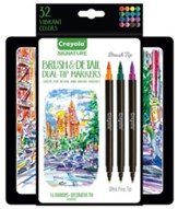 Crayola, Brush & Detail Dual-Ended Markers with Tin, 16 Pieces